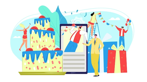 Kids verjaardagsfeestje evenementenservice met clowns en vuurwerk, geschenkdozen en baloons pictogrammen illustratie voor website sjabloon. website voor het organiseren van vakanties en kinderevenementen.