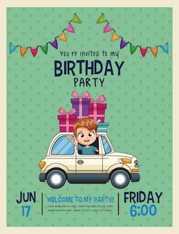 Kids verjaardagsuitnodigingskaart