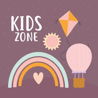 Kids zone belettering en set van schattige pictogrammen