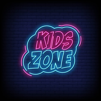 Kids zone neon signs style text