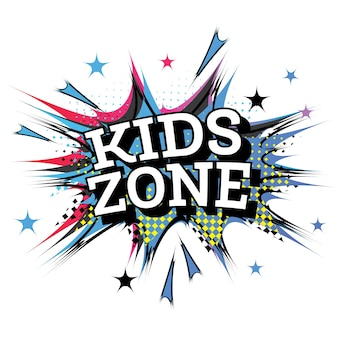 Kids zone word comic-tekst in pop-artstijl