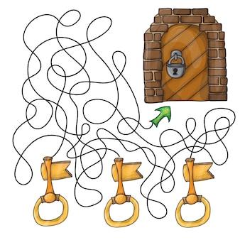 Kies de sleutel van de deur - doolhofspel voor kinderen
