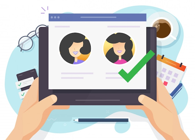 Kies een kandidaat voor webcasting of selecteer mensen online op een digitale computer terwijl human resources werken Premium Vector