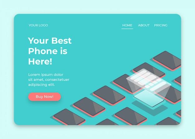 Kies een smartphone in de isometrische illustratie van de showcase voor het ontwerpen van webpagina's