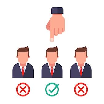 Kies een sollicitant. slagen voor een geslaagd interview. vlakke afbeelding.