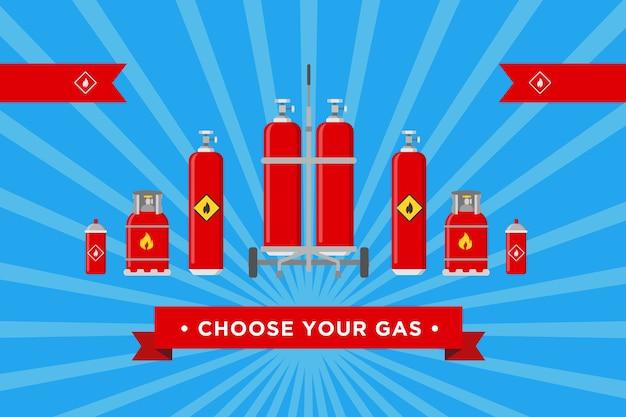 Kies het ontwerp van uw gasdeksel. cilinders en ballonnen met brandbare teken vectorillustraties met reclametekst. sjablonen voor achtergrond van de website van gasproductie en distributiebedrijf