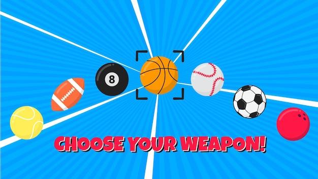 Kies je wapen sport samenstelling vlakke stijl ontwerp vectorillustratie