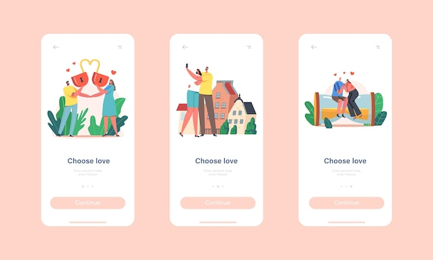 Kies love mobile app page onboard screen template. liefdevolle karakters met hartslot, zitten op enorme zandloper, daten