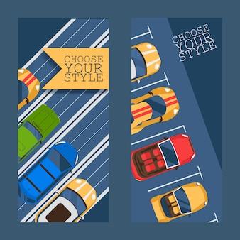 Kies uw stijl platte set van banners illustratie.