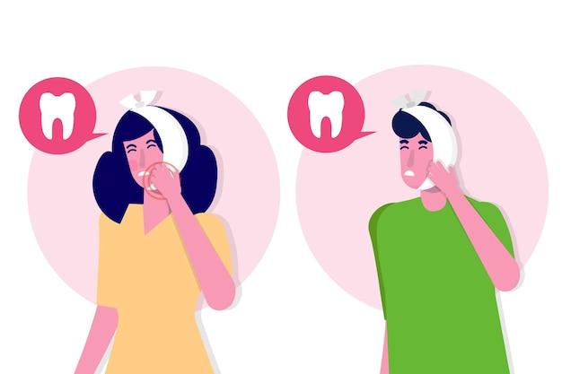 Kiespijn. cariës. ernstige pijn in de tanden.