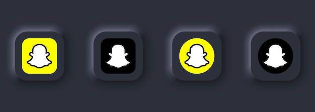 Kiev, oekraïne - 12 maart 2021 set van snapchat-pictogrammen. pictogrammen voor sociale media. realistische snapchat-set. neumorphic ui ux witte gebruikersinterface. neumorfisme stijl.
