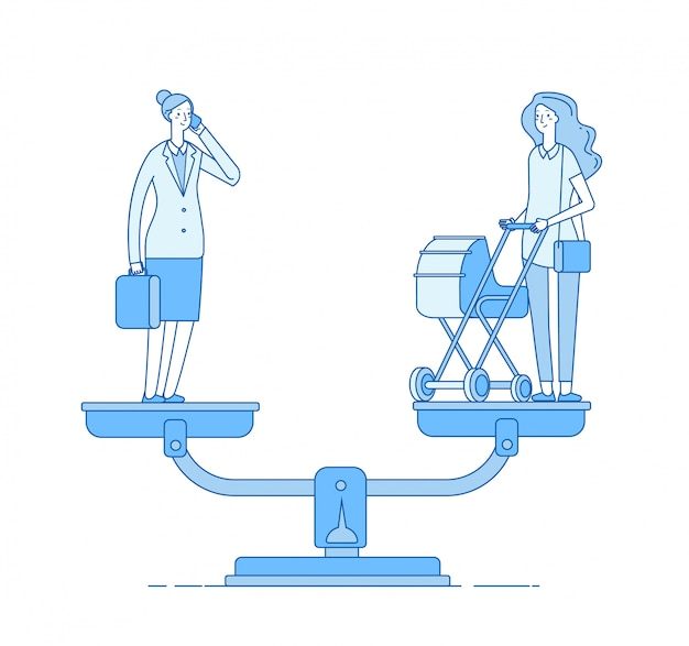 Kiezen tussen carrière en gezin. werk gezinssaldo, gelukkige moeder met wandelwagen en zakenvrouw op schaal concept
