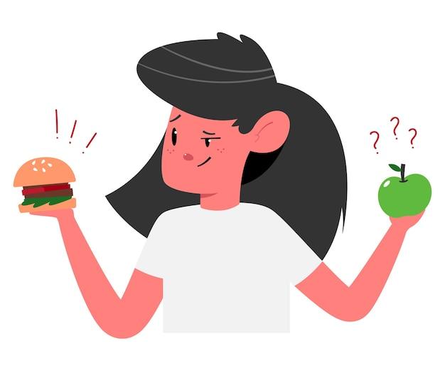 Kiezen tussen gezonde en ongezonde voeding concept illustratie met schattig meisje met hamburger en appel stripfiguur.
