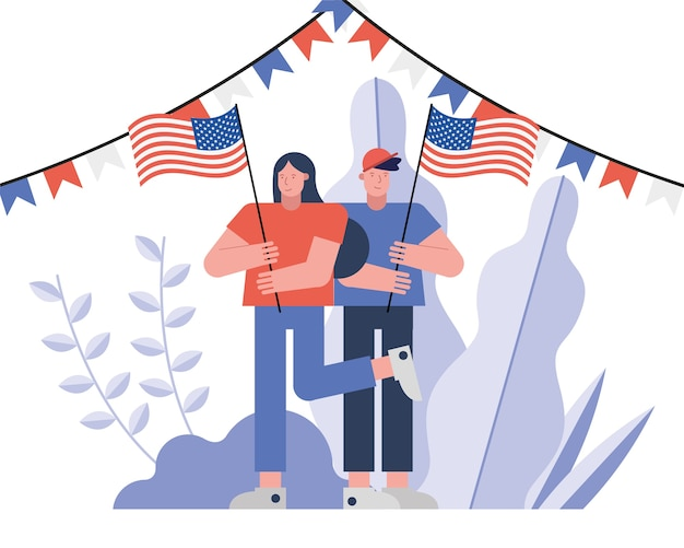 Kiezers koppelen met vector de illustratieontwerp van de vlaggen van de vs verkiezing