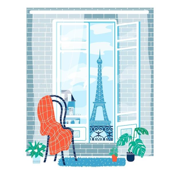Kijk binnenraam parijs, stijl eenvoudig, plaats modern