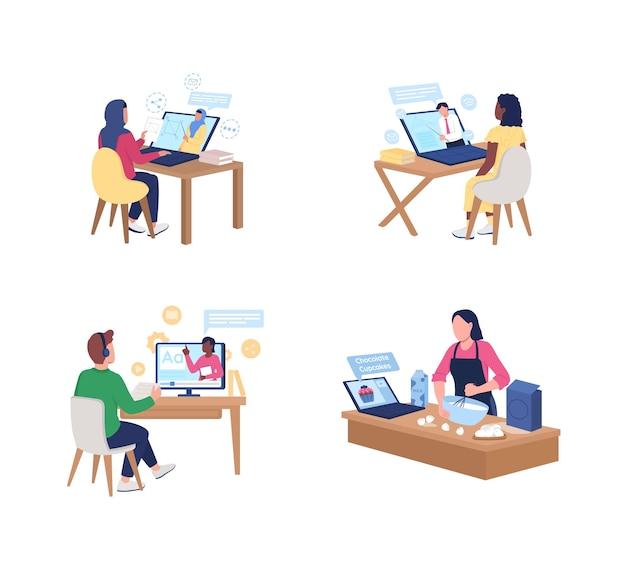 Kijken naar online tutorials in egale kleur, gezichtsloze tekenset