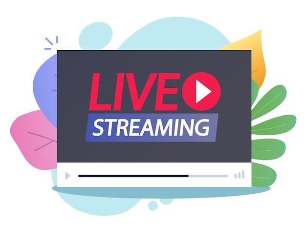 Kijken naar video online live streaming op speler platte cartoon afbeelding