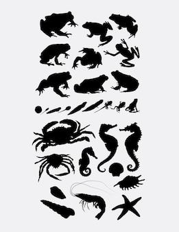 Kikker krab seahorse en garnalen zeedieren silhouet