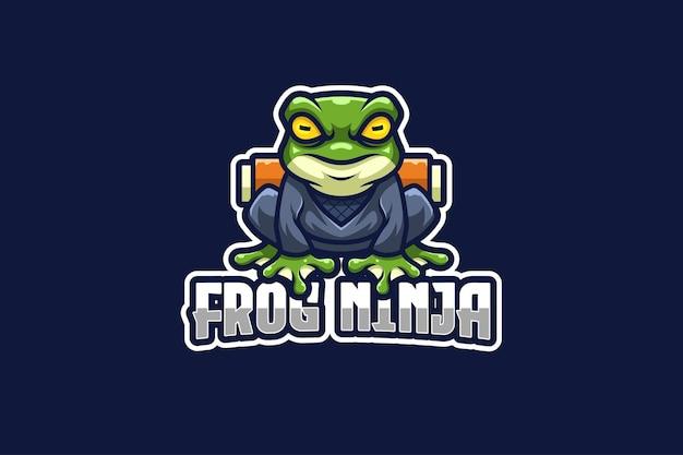 Kikker ninja e-sport logo sjabloon
