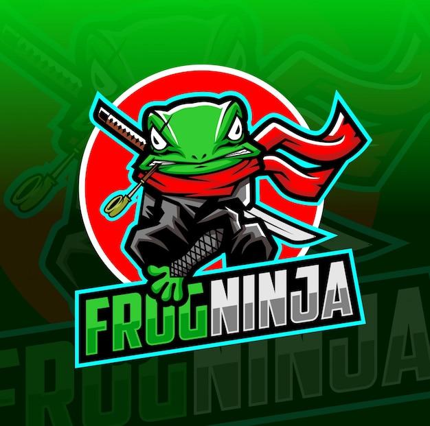 Kikker ninja mascotte esport logo