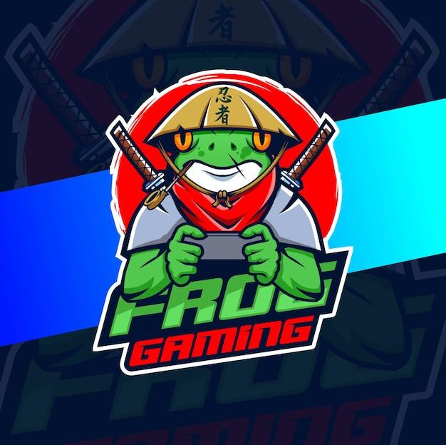 Kikker ninja samurai mascotte esport logo ontwerpt karakter