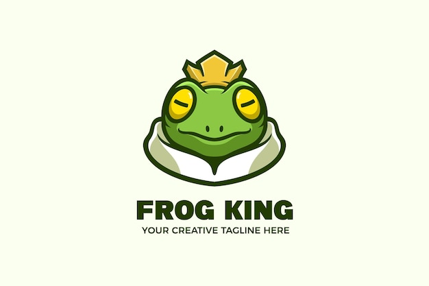 Kikkerkoning cartoon mascotte logo sjabloon