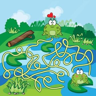 Kikkers maze game - help de kikker om zijn weg te vinden - vector