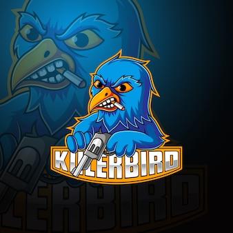 Killer birds esport mascotte logo ontwerp