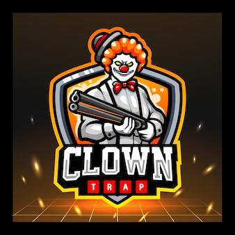 Killer clown mascotte esport logo ontwerp