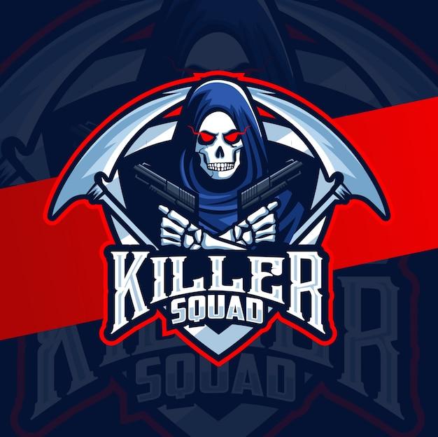 Killer reaper met geweren mascotte esport-logo
