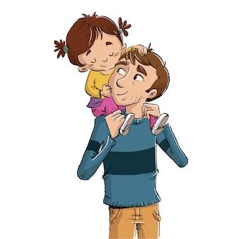 Kind bovenop zijn vader illustratie