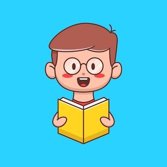 Kind dat boekillustratie leest in plat ontwerp