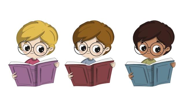 Kind dat een boek van verschillend ras of het behoren tot een bepaald ras leest