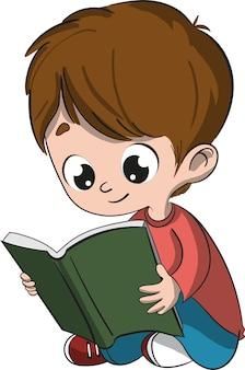 Kind dat een boekzitting op de vloer leest