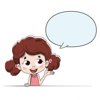Kind dat spreekt of aanwijzingen geeft met een komische gobo