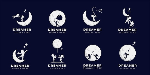 Kind droom logo ontwerp illustratie collectie - dreamer logo