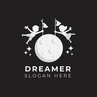 Kind droom logo ontwerp illustratie sjabloon
