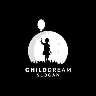 Kind droom logo ontwerp, vector illustratie