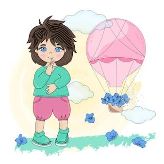Kind droom valentijnsdag illustratie set