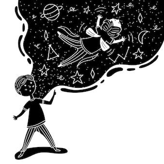 Kind droomt van vliegen in de ruimte. jongenskind fantasie. zwart-wit vectorafbeeldingen