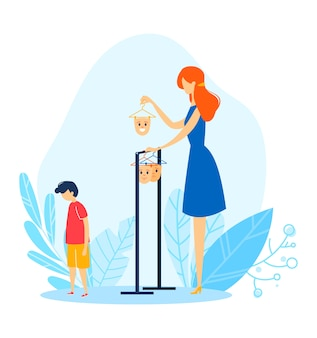 Kind gezichtsmasker, cartoon moeder kies stemming voor kind, illustratie. familieprobleem met persoonsemotie, jonge karakteruitdrukking
