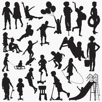 Kind glijden silhouetten