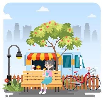 Kind hamburger eten bij garden illustration