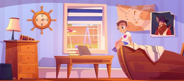 Kind in slaapkamer in piratenstijl kleine jongen op scheepsbed