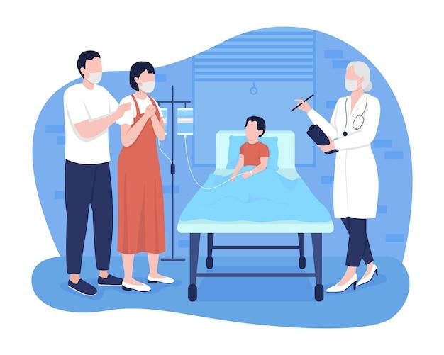 Kind in ziekenhuis kamer 2d vector geïsoleerde illustratie. ouders praten met kinderarts over platte karakters van de staat van de patiënt op cartoon achtergrond. kleurrijke scène voor pediatrische spoedeisende hulp