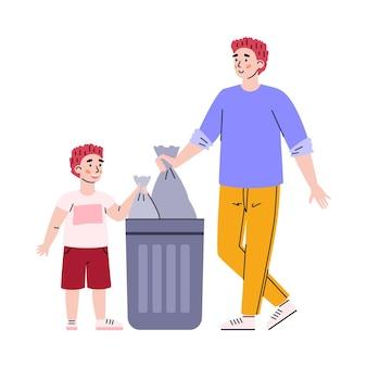 Kind jongen helpt vader om vuilnis cartoon vectorillustratie geïsoleerd te gooien