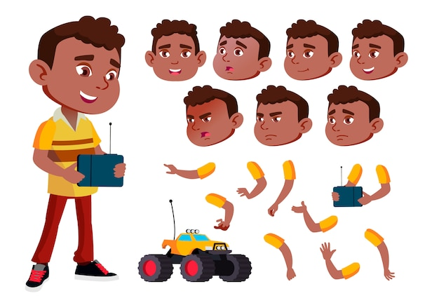 Kind jongen karakter. afrikaanse. creatie constructor voor animatie. gezichtsemoties, handen.