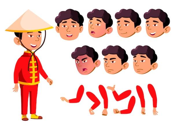 Kind jongen karakter. aziatische. creatie constructor voor animatie. gezichtsemoties, handen.