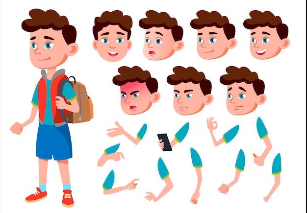 Kind jongen karakter. europese. creatie constructor voor animatie. gezichtsemoties, handen.