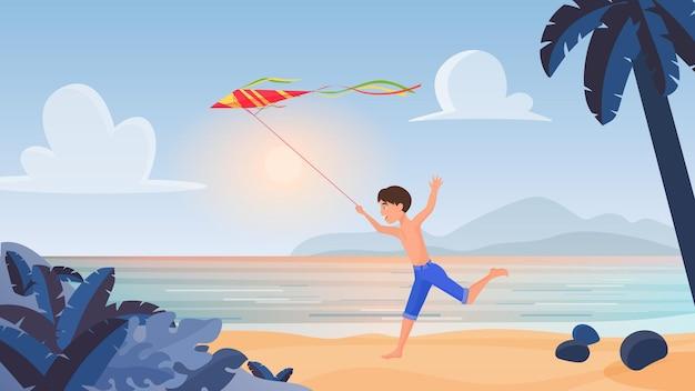 Kind jongen spelen rennen met vlieger in tropische natuur zomer strand landschap activiteit